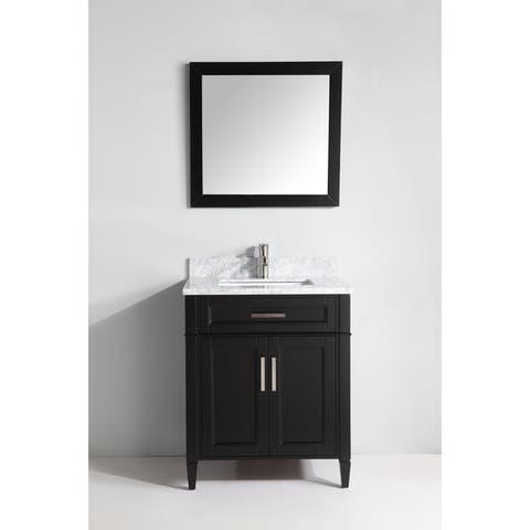 Vanity Art 30-Inch Single Sink Bathroom Vanity Set Carrara Marble Stone Top Soft Closing Doors Undermount Sink with Free Mirror