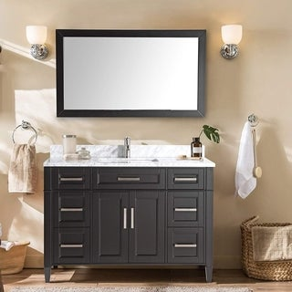Vanity Art 60-inch Single-sink Bathroom Vanity Set with Carrara Marble Top
