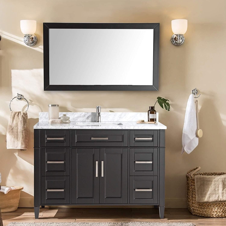 7 Drawers 1 Shelf Undermount Sink with Free Mirror VA2060-E Vanity Art 60 Inch Single Sink Bathroom Vanity Set Carrara Marble Stone Top