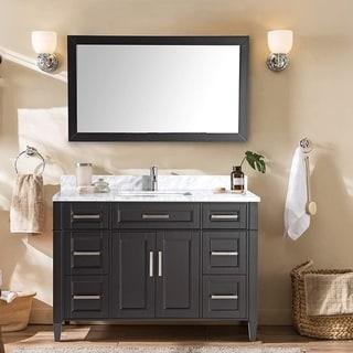 Vanity Art 60-Inch Single Sink Bathroom Vanity Set Carrara Marble Stone Top 7 Drawers 1 Shelf Undermount Sink with Free Mirror