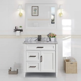 Vanity Art 36-inch Single-sink Bathroom Vanity Set with Carrara Marble Top