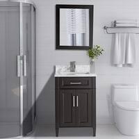Vanity Art Wood 24-inch Bathroom Vanity Set with Marble Top