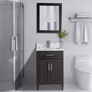 Vanity Art Wood 24-inch Single-sink Bathroom Vanity Set with Marble Top (3 options available)