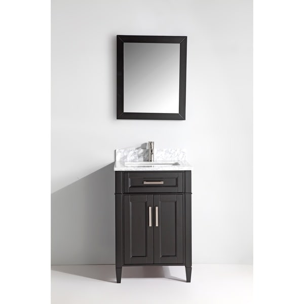 Vanity art wood 24 inch single sink bathroom vanity set with marble top free shipping today for Freestanding 24 inch bathroom vanity