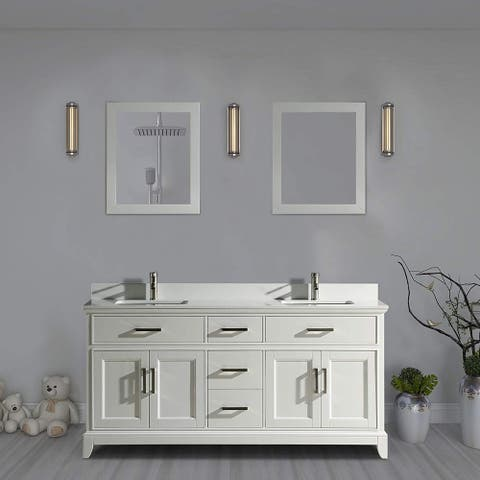 "Vanity Art 72"" Double Sink Bathroom Vanity Set Super White Phoenix Stone Top Soft-Closing Doors Undermount Sink with Free Mirror"