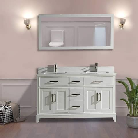 "Vanity Art 60"" Double Sink Bathroom Vanity Set Super White Phoenix Stone Top Soft-Closing Doors Undermount Sink with Free Mirror"