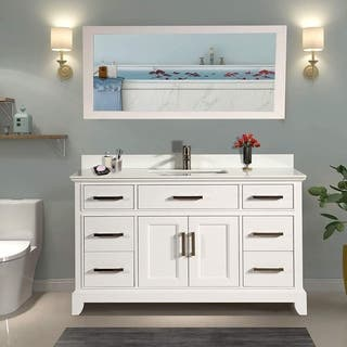 Vanity Art 60 Inch Single Sink Bathroom Set With Phoenix Stone Top