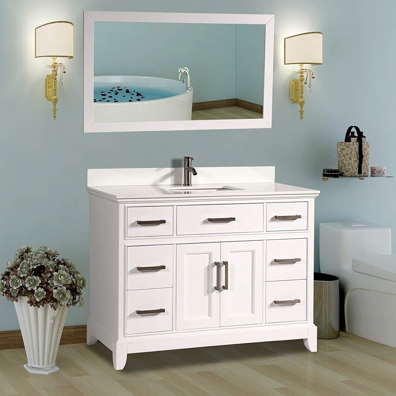 Vanity Art 60 Single Sink Bathroom Vanity Set Super White Phoenix Stone Top Soft Closing Doors Undermount Sink With Free Mirror Overstock 12364459