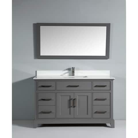 "Vanity Art 60"" Single Sink Bathroom Vanity Set Super White Phoenix Stone Top Soft-Closing Doors Undermount Sink with Free Mirror"