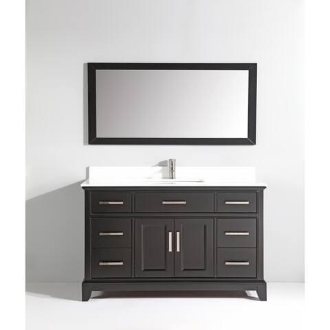 "Vanity Art 60"" Single Sink Bathroom Vanity Set Super White Phoenix Stone Top Soft-Closing Doors Undermount Sink with Free Mirror"