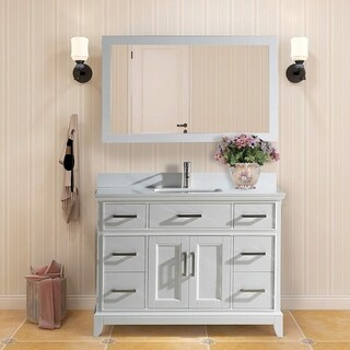 Vanity Art White Phoenix Stone Top 48-inch Single Sink Bathroom Vanity Set With Mirror