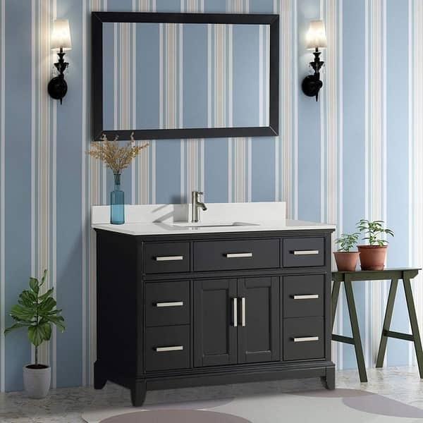 Vanity Art 48 Single Sink Bathroom Vanity Set Phoenix Stone Top 7 Drawers 1 Shelf Undermount Sink Vanity Cabinet With Mirror On Sale Overstock 12364460