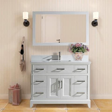 "Vanity Art 48"" Single Sink Bathroom Vanity Set Phoenix Stone Top 7 Drawers, 1 Shelf Undermount Sink Vanity Cabinet with Mirror"