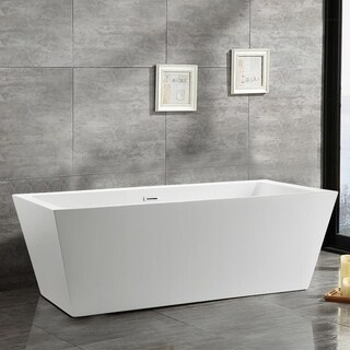 Vanity Art White Acrylic 59-inch Freestanding Soaking Bathtub