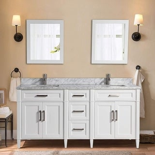 Vanity Art 72-inch Double Sink Bathroom Vanity Set with Carrara Marble Top