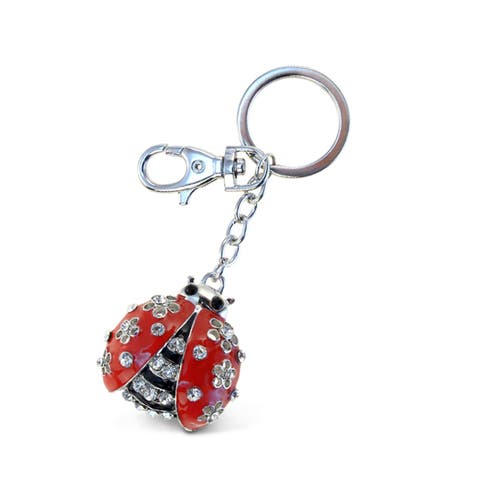 Puzzled Sparkling Charms Red Ladybug Key Chain