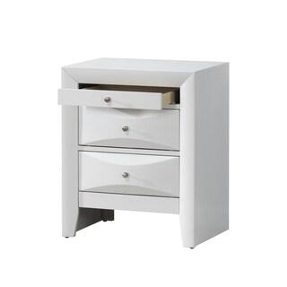 White 3-Drawer Nightstand