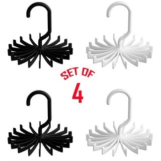 Smartek Black/White Plastic 360-degree Rotating Tie Rack Closet (4 Pack)
