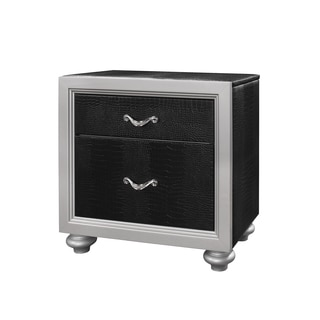 Black/ Silver Textured Finish Nightstand