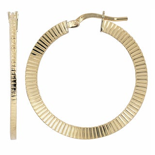 Fremada Italian 14k Yellow Gold Textured Round Hoop Earrings