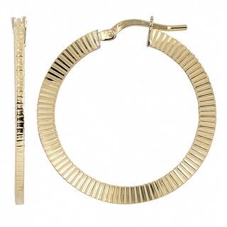 Fremada Italian 14k Yellow Gold Textured Round Hoop Earrings