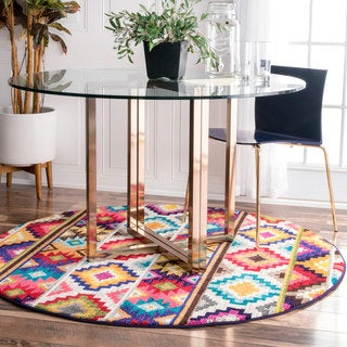 nuLOOM Retro Tribal Diamonds Multi Round Rug (5' Round)
