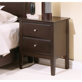 Abbyson Marsala Espresso Wood 2 Drawer Nightstand