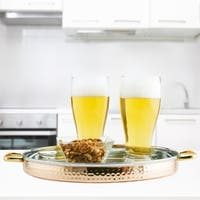 12-inch 2-ply Solid Copper/Stainless Steel Hammered Round Tray with Brass Handles