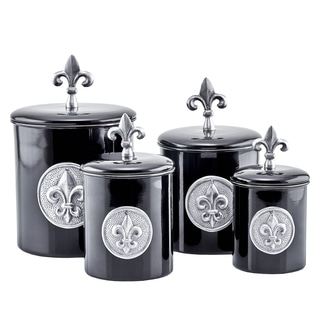 Old Dutch Black Stainless Steel Fleur-de-lis 4 qt., 2 qt., 1 qt., and 1 qt. 4-piece Canister Set