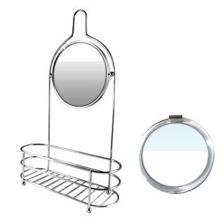 Silver Shower Organizer With Round Fog-free Mirror Plus Free 3-in-1 Compact Mirror