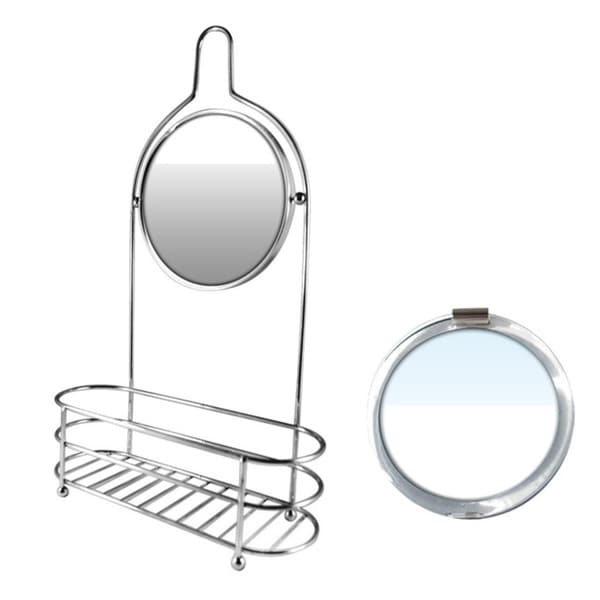 Silver Shower Organizer With Round Fog-free Mirror Plus Free 3-in-1 ...