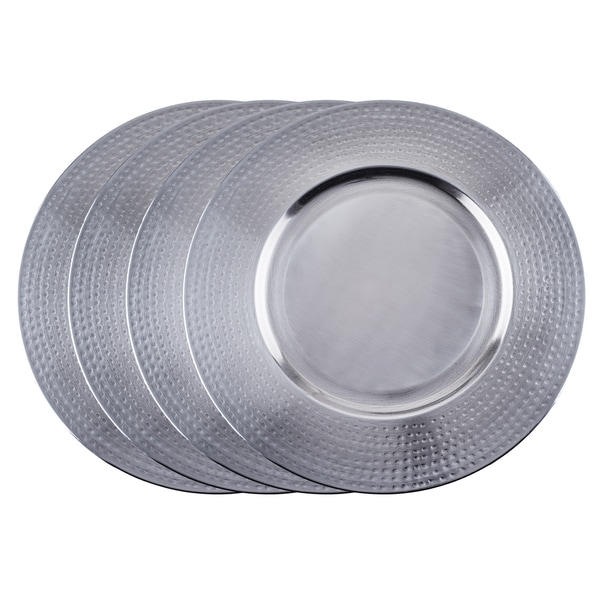 16-inch Brushed Stainless Steel Hammered Rim Charger Plate (Set of 4)