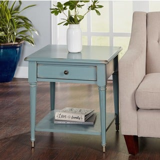 Superieur Simple Living Emilia Antique Blue Finish End Table