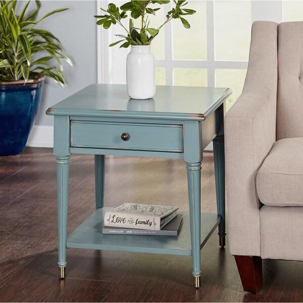 Shop Simple Living Emilia Antique Blue Finish End Table