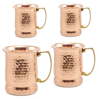 Sui Generis Moscow Mule 17-ounce Brown Copper Hammered Mugs ( Set of 4)