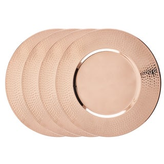 Copper 16-inch Hammered Rim Charger Plate (Set of 4)