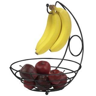 Steel Fruit Tree Basket Bowl With Banana Hanger