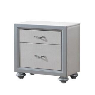 Textured White/ Grey 2-Drawer Nightstand