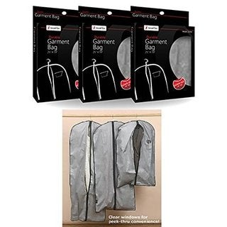Smartek Silvertone/Clear Vinyl Assorted-size Garment Bags (Pack of 3)