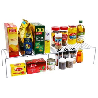 White Expandable Kitchen Counter and Cabinet Helper Shelf