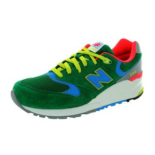 New Balance Men's 999 Classics Green With Multicolored Bolt and Highlights Mesh Running Shoes