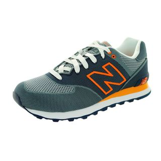 New Balance Men's 574 Classics State Blue/Orange Mesh Running Shoes