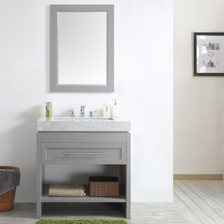 Bolzana 36-inch Single Vanity in Grey with Carrara White Marble Top and Mirror