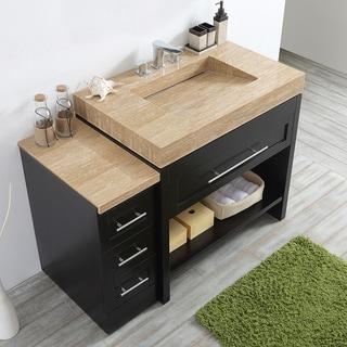 Bolzana 48-inch Wood/Marble Espresso-colored Single Vanity Sink