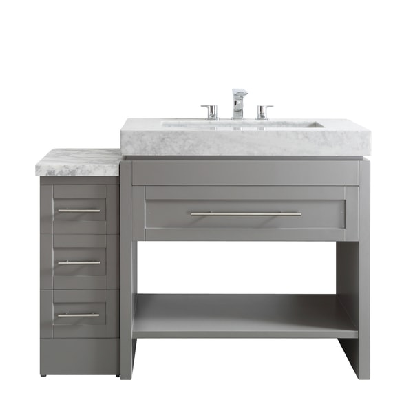 Bolzana grey finish wood white carrara marble top 48 inch for 48 inch mirrored bathroom vanity