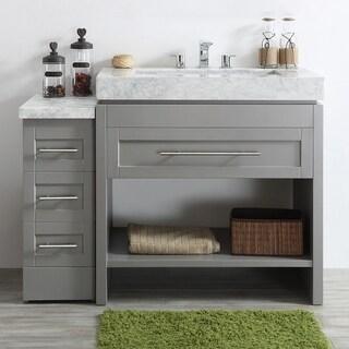 Bolzana Grey-finish Wood/White Carrara Marble Top 48-inch Single Vanity without Mirror
