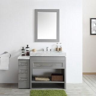 Bolzana Grey Carrara White Marble Top 48-inch Mirrored Single Vanity