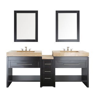 Bolzana 84-inch Double Vanity in Espresso with Travertine Marble Top and Mirror