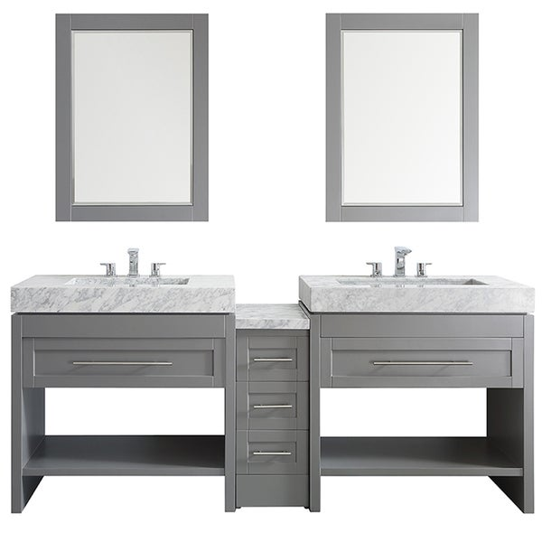 Bolzana Grey 84 Inch Double Vanity With Carrara White