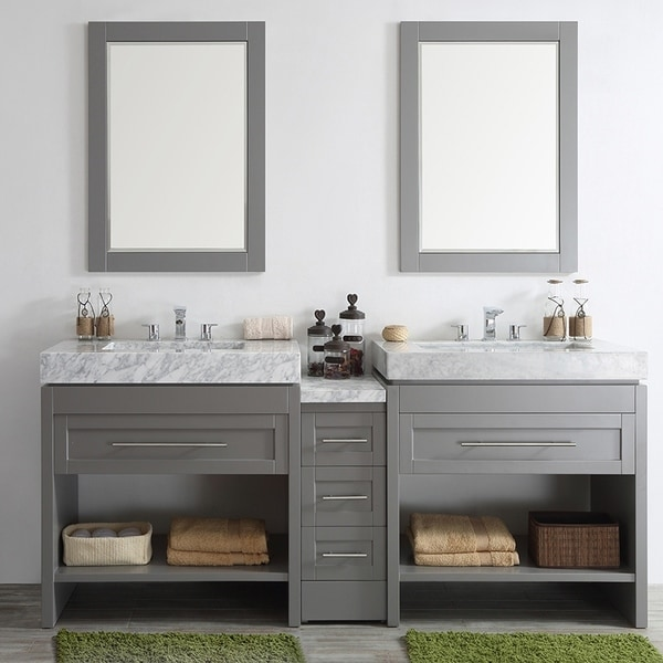 Shop bolzana grey 84 inch double vanity with carrara white marble top and mirrors free for 84 inch white bathroom vanity